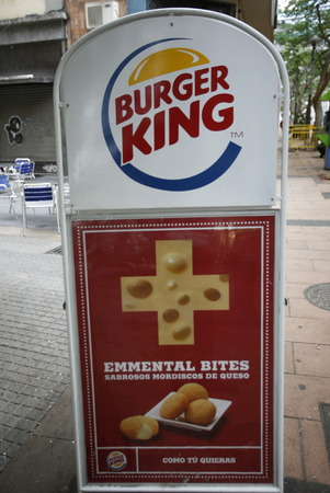 Burger King with swiss cheese in the City of Santa Cruz de Tenerife on the Iceland of Tenerife on the Canary Islands of Islands of Spain in the Atlantic.