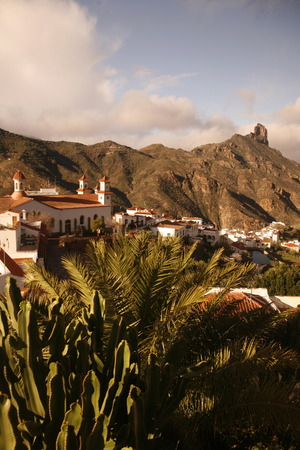 landschaft: The mountain Village of  Tejeda in the centre of the Canary Island of Spain in the Atlantic ocean.