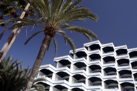 appartment: a Appartment Hotel at the Playa des Ingles in town of Maspalomas on the Canary Island of Spain in the Atlantic ocean.