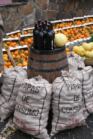 peasantry: Potato and Wine at a Market in the mountain village of Tejeda in the center of the Canary Iceland of Spain in the Atlantic ocean. Editorial