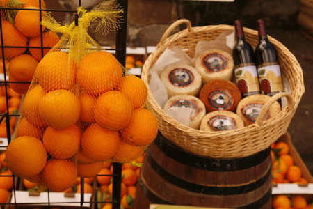 peasantry: Orange and Wine at a Market in the mountain village of Tejeda in the center of the Canary Iceland of Spain in the Atlantic ocean.