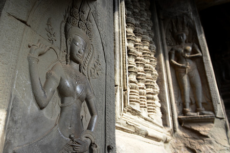 Reisen: The Angkor Wat in the Temple City of Angkor near the City of Siem Riep in the west of Cambodia.