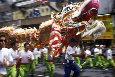 the Dragon festival at the Chinese newyear in Hong Kong in the south of China in Asia. Editorial