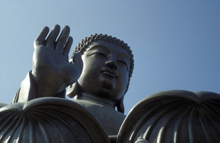 lantau: The Giant Buddha on the Island Lantau in Hong Kong in the south of China in Asia.