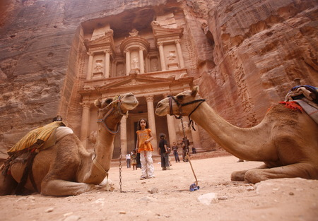 of petra: The Al Khazneh Treasury in the Temple city of Petra in Jordan in the middle east. Editorial