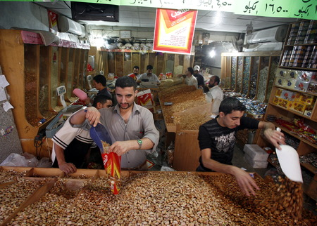 souq: the Market or Souq in the city of Aqaba on the red sea in Jordan in the middle east.