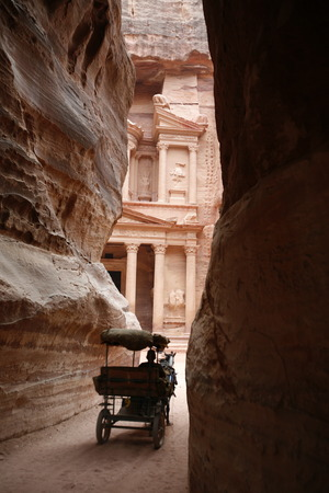 khazneh: The Al Khazneh Treasury in the Temple city of Petra in Jordan in the middle east. Editorial