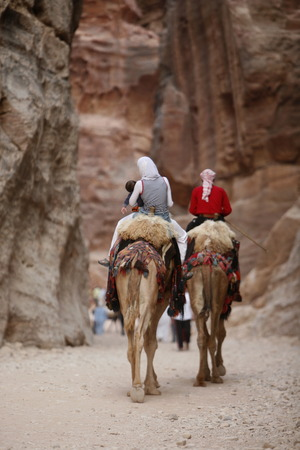 trecking: the landscape and streets in the Temple city of Petra in Jordan in the middle east. Editorial