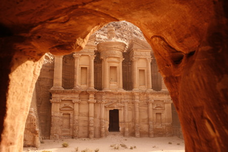asien: the Monastery  in the Temple city of Petra in Jordan in the middle east.