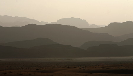 landschaft: The Landscape of the Wadi Rum Desert in Jordan in the middle east.