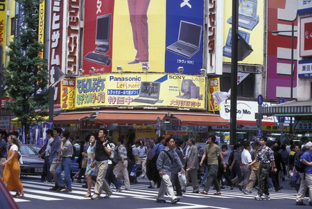 trafic: A Road with shopping and Trafic in the City center of Tokyo in Japan in Asia, Editorial