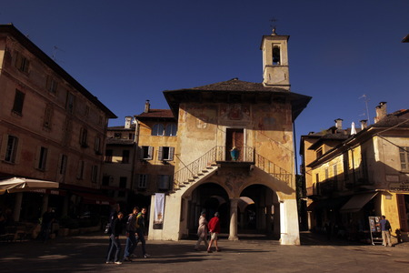 orta: The Square in the Fishingvillage of Orta on the Lake Orta in the Lombardia  in north Italy.