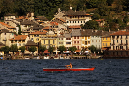 the Fishing Village of Orta on the Lake Orta in the Lombardia in north Italy.