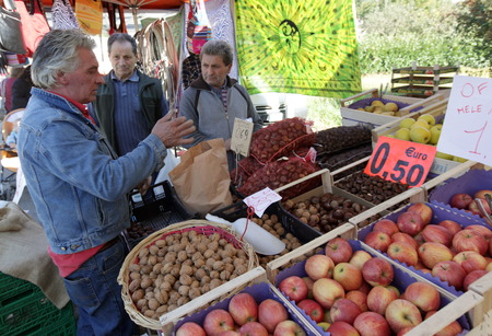 the market at the traditional cow Farmer Market in the Village of Armeno near the Fishing Village of Orta on the Lake Orta in the Lombardia in north Italy.