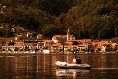 The Village Arola in the Lake Orta outside of the Fishing Village of Orta on the Lake Orta in the Lombardia in north Italy.