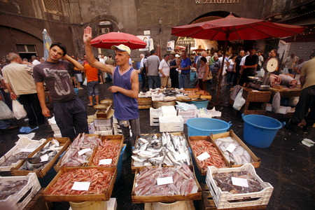 italien: The Fishmarket in the old Town of Catania in Sicily in south Italy in Europe. Editorial