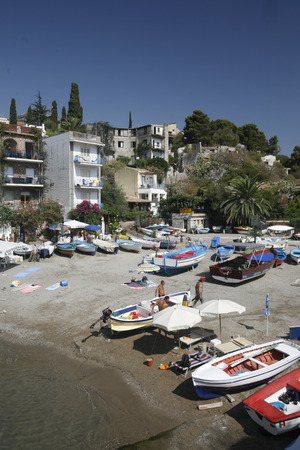 italien: the Beach of the old Town of  Taormina in Sicily in south Italy in Europe. Editorial