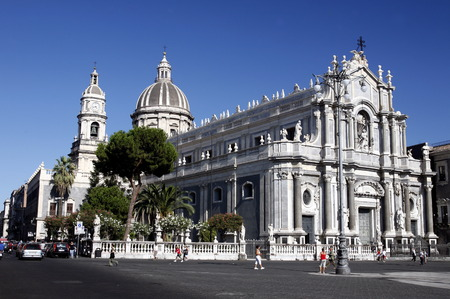 sant agata: the Dom Sant Agata at the Piazza del Duomo in the old Town of Catania in Sicily in south Italy in Europe. Editorial