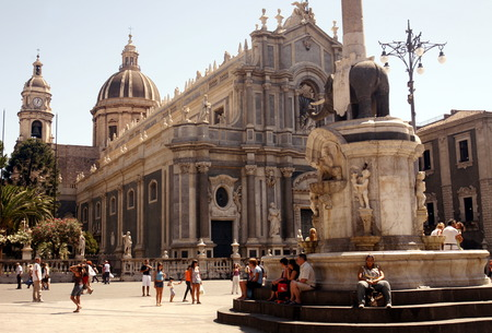 sant agata: the Cathedral Sant Agata at the Piazza del Duomo in the old town of Catania in Sicily in south Italy in Europe.