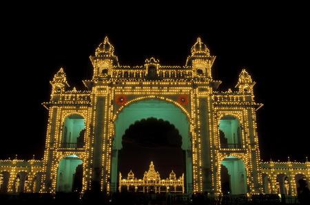 the Palace in the city of Mysore in the province of Karnataka in India. photo
