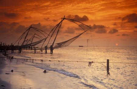 fishingnet: The fishingnet near the city ofi Kochi in the province Kerala in India.