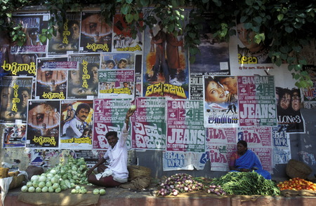 a wall with promotion of Bollywood Produktions in the city of Madras in India. Editorial