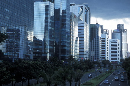 the skyline of the city centre of Jakarta in Indonesia in Southeastasia. Redakční