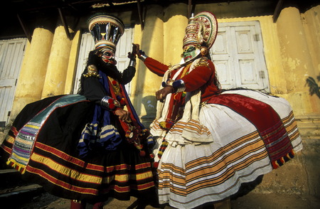 kochi: The  Kathakali Dancer in the city of Kochi in the province Kerala in India. Editorial