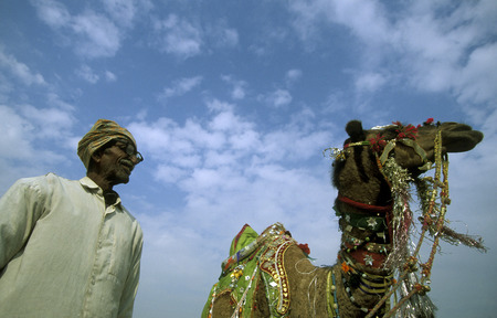 bikaner: Kamel Farmer at the kamel Festival in the town of Bikaner in the province Rajasthan in India. Editorial