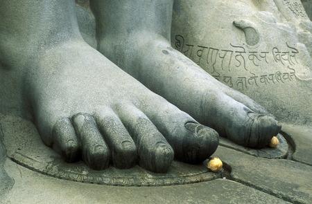 stone buddha: the stone Buddha Gomateshvara in Sravanabelagola in the province Karnataka  in India. Editorial