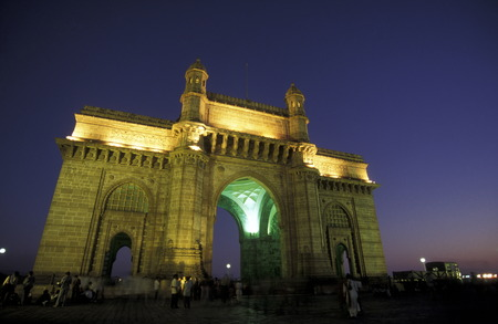 the Gateway of India in the city of Bombay or Mumbai in India.