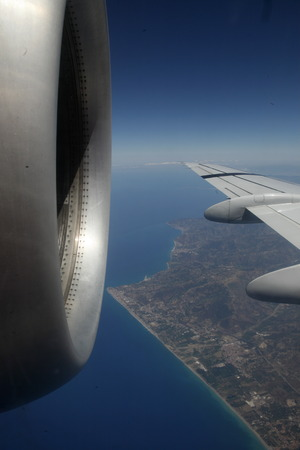 the air view allround the east part of Sicily near the Town of Catania in Sicily in south Italy in Europe.