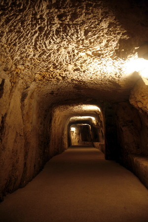 schutz: The Tunnels under the Piazza del Domo in the old Town of Siracusa in Sicily in south Italy in Europe.