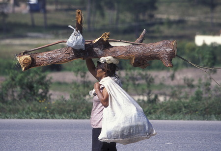 holz: a women at the Village of Gracias in Honduras in Central America,