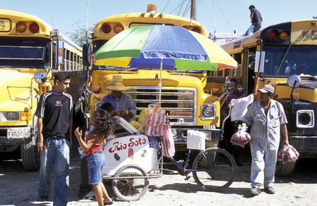san pedro: The Bus Terminal of the city of Tela near San Pedro Sula on the caribian sea in Honduras in Central America, Editorial