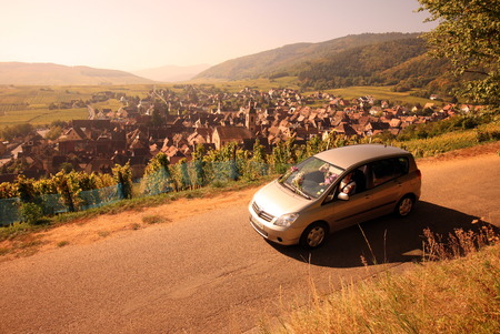 landschaft: the olt town of the village of Riquewihr in the province of Alsace in France in Europe