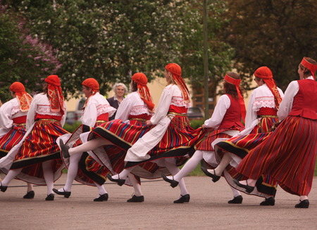 musik: a Folkmusic and Dance on a Festival in the old Town of Tallinn in Estonia in the Baltic countrys in Europe.