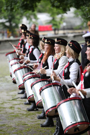musik: the Police Music Band plays in the old Town of Tallinn in Estonia in the Baltic countrys in Europe.