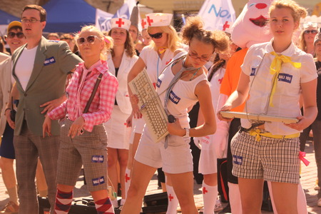 baltic people: People on a summer Festival in the old Town of Tallinn in Estonia in the Baltic countrys in Europe.