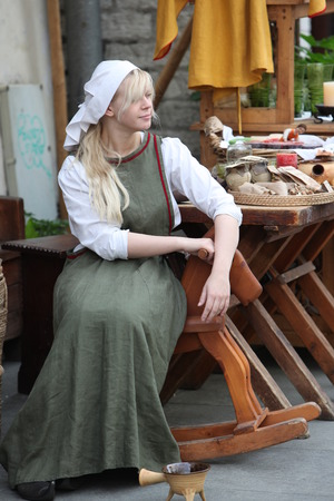 traditon: a women of a Shop in the old Town of Tallinn in Estonia in the Baltic countrys in Europe. Editorial