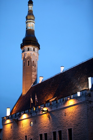 old town townhall: the City Hall of the old city of Tallinn in Estonia in the Baltic countrys in Europe.