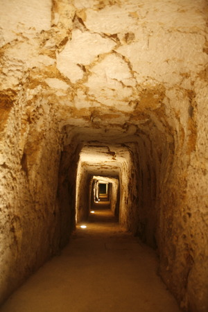 tunel: The Tunnels under the Piazza del Domo in the old Town of Siracusa in Sicily in south Italy in Europe.