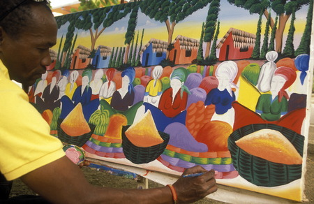 a Painter at the Village of Las Terrenas on Samanaon in The Dominican Republic in the Caribbean Sea in Latin America.