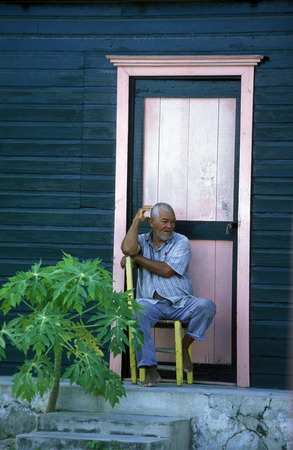 a traditional Woodhouse at the Village of Las Terrenas on Samanaon in The Dominican Republic in the Caribbean Sea in Latin America.