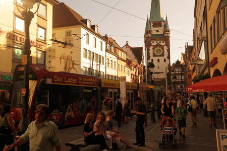 freiburg: the old town of Freiburg im Breisgau in the Blackforest in the south of Germany in Europe. Editorial