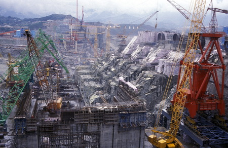 three gorges dam: the constructions work at the three gorges dam project on the river in the province of yangzi hubei in china. Editorial