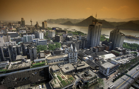 yichang: the city of Yichang near the three gorges dam project in the province of hubei in china.