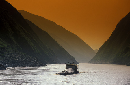 hubei province: the landscape of the river yangzee in the three gorges valley up of the three gorges dam projecz in the province of hubei in china.