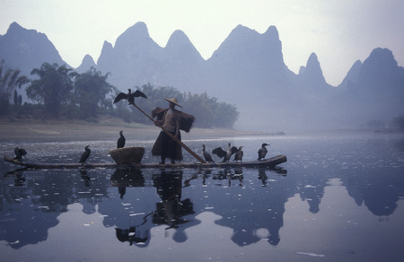the landscape at the Li River near Yangshuo near the city of Guilin in the Guangxi Province of China in in east asia.