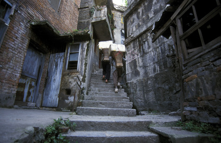 gorges: in the village of Badong on the yangzee river in the three gorges valley up of the three gorges dam projecz in the province of hubei in china. Editorial